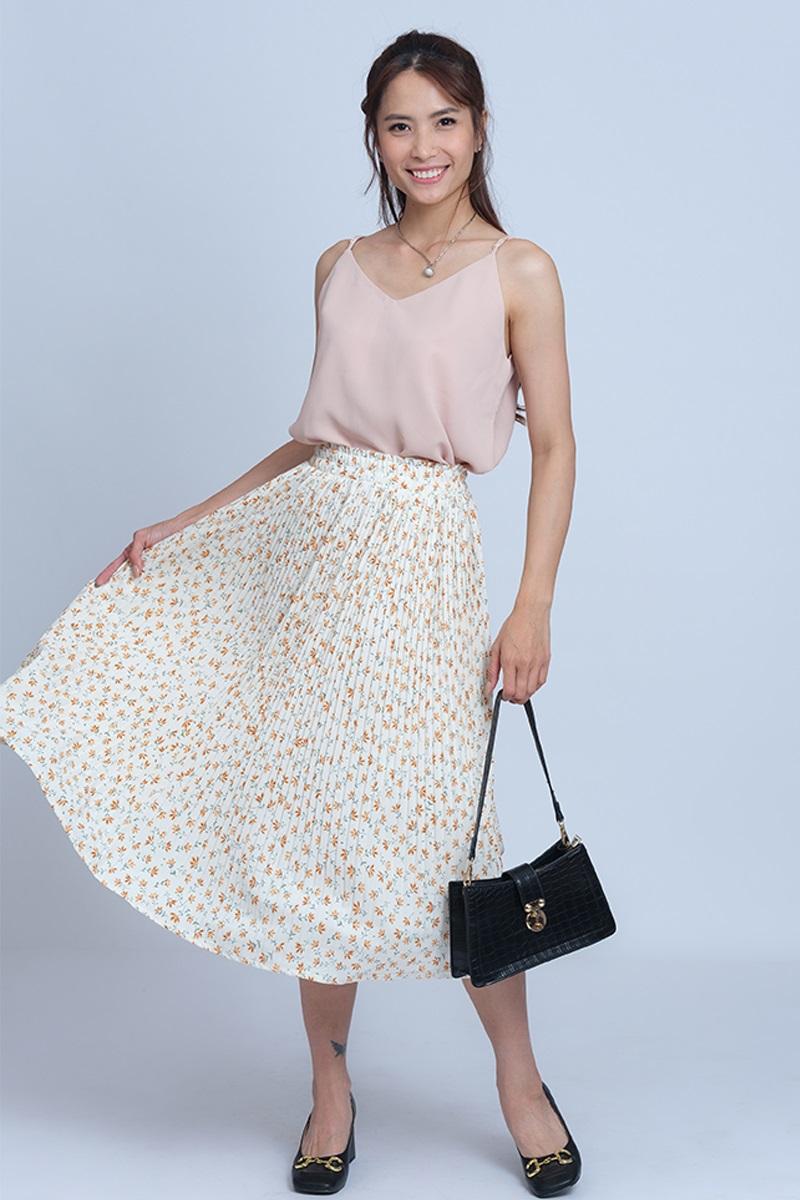Chân Váy Nữ Dài Xếp Ly Phối Hoa