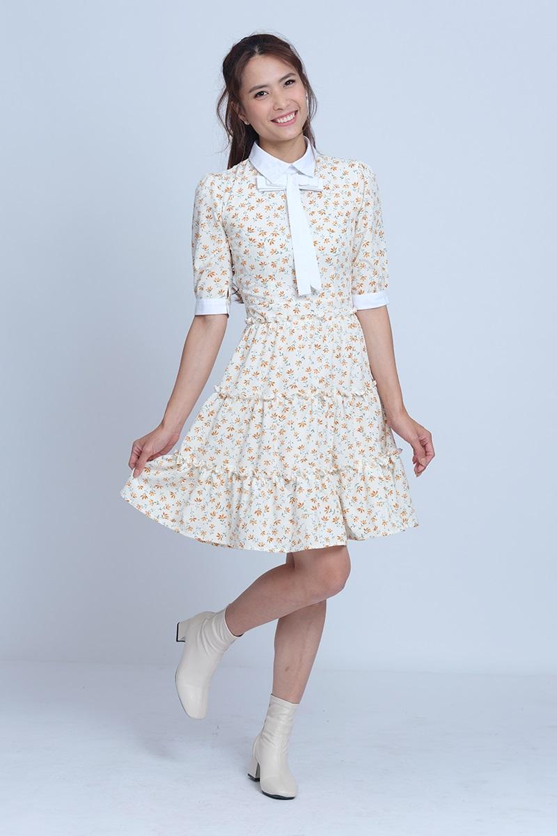 Đầm Xòe Hoa Tay Lỡ Thắt Nơ Dễ Thương